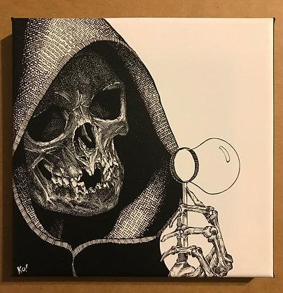 Grim Reaper the blower of Death Bubbles canvas