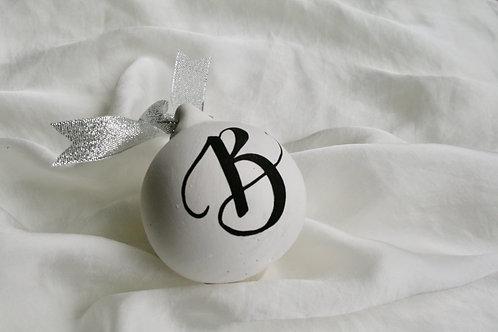 Handmade Initial Bauble: Silver Glitter Ribbon