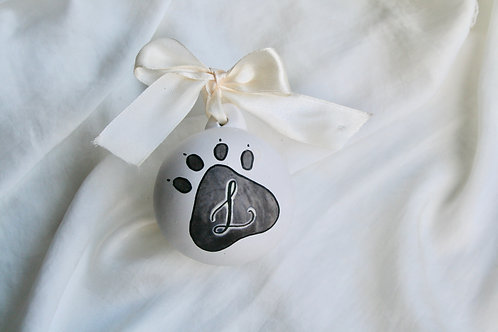 Ceramic Pet Christmas Bauble - Personalised Paw Print