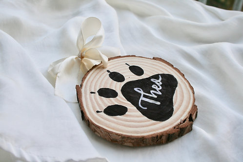 Wooden Pet Name Christmas Bauble - Personalised Paw Print