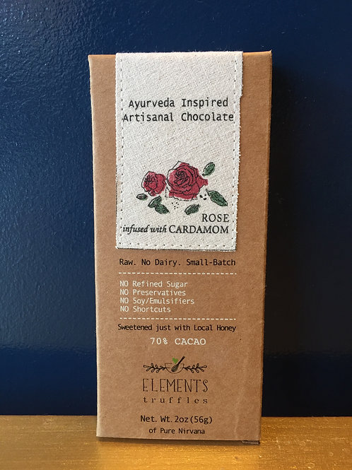 Rose infused with Cardamom Chocolate Bar