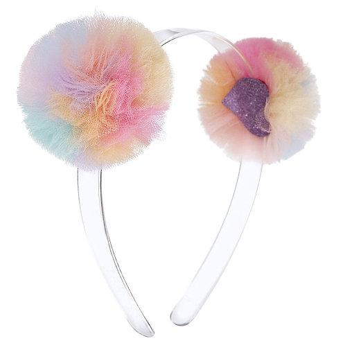 Headband Double Pompom Rainbow