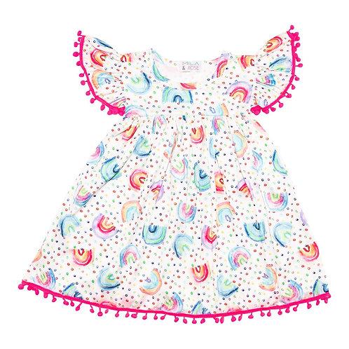 Rainbow Dot Pom Pom Dress