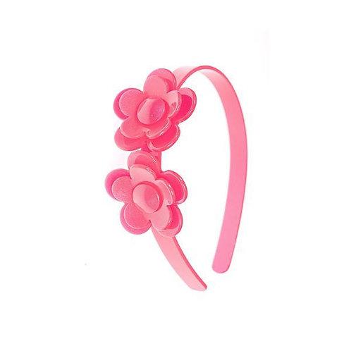 Headband Camelia Flower Neon Pink