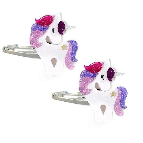 Clips de Unicorn Colorful Glitter