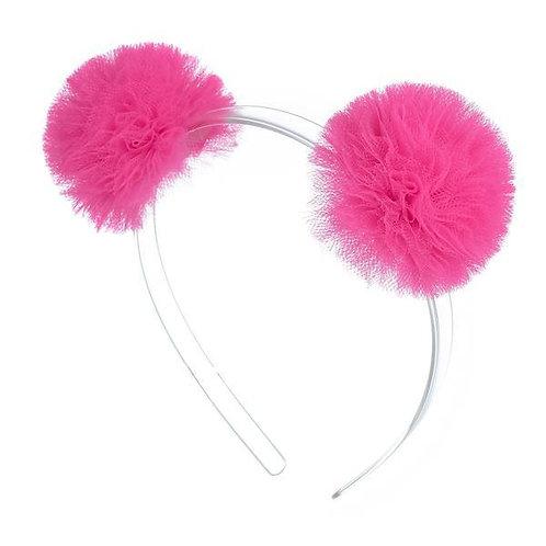 Headband Double Pompom Neon Pink
