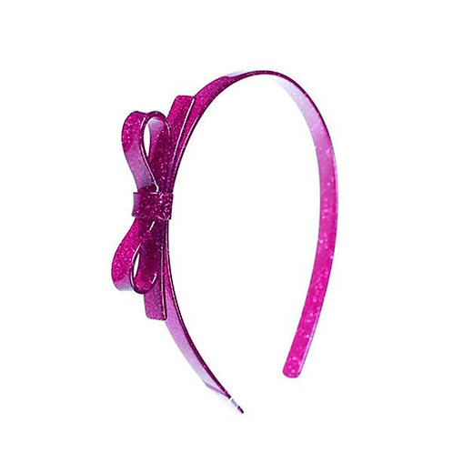Headband Thin Bow Glitter Pink