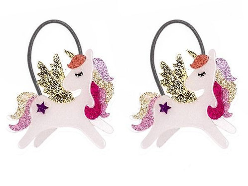 Ponytail Winged Unicorn Coral Glitter