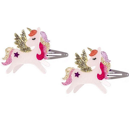 Clips de Winged Unicorn Coral Glitter