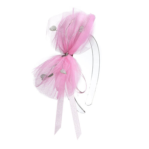 Headband Tulle Heart Bow Light Pink