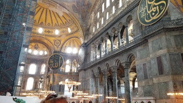 Hagia Sophia - The Muslims took off or covered up All pictures and Mosaics of Christian figures and put up circle plaques of the names of their Prophets
