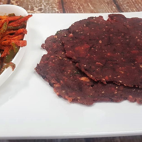 BEETROOT PARATHA WITH CARROT CAPSICUM ACHAR