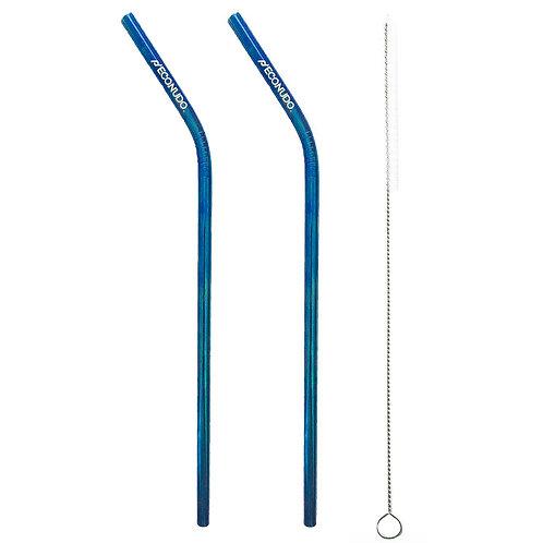 2 Canudos Inox Azul Curvo + Limpador