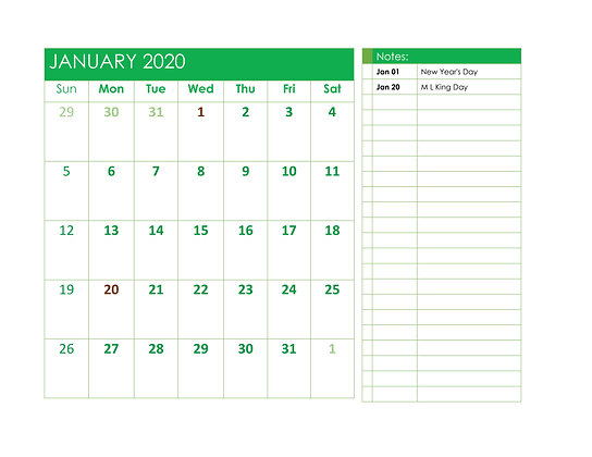 Bright Green 2020 Calendar in Word
