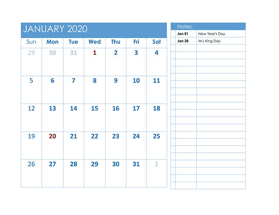 Blue 2020 Calendar in Word