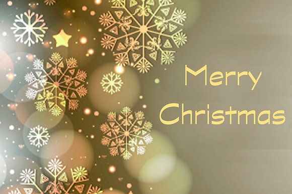 Merry Christmas Gold and Silver Snow