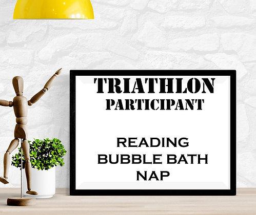 Triathlon Participant Reading Bubble Bath Nap