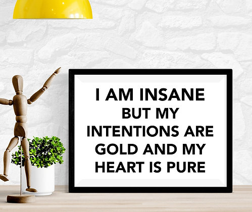 I am insane but my intentions are gold and my heart is pure