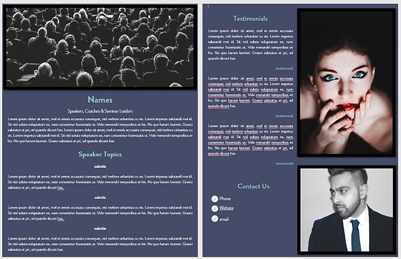 Navy and Teal Speaker Sheet