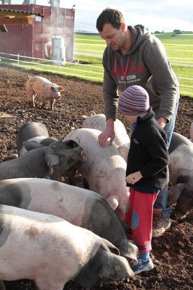 Phil Hörmann con los cerdos que él mismo criaba