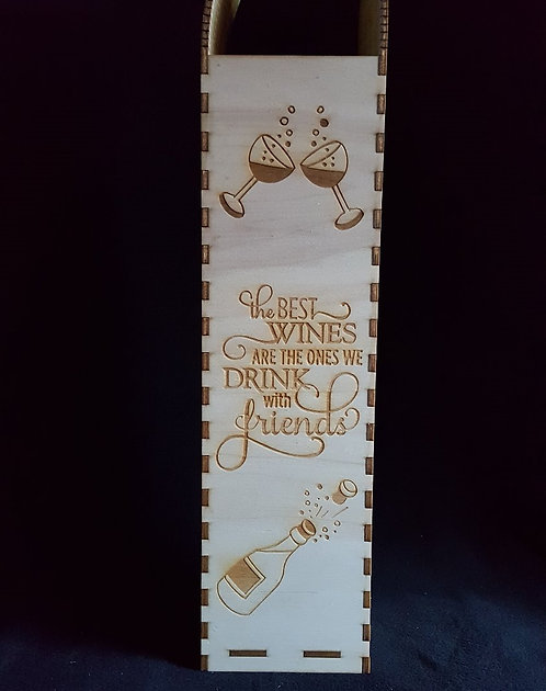 Engraved large wine box with living hinge