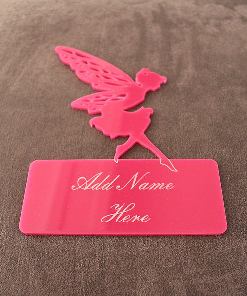 Perspex engraved fairy hanging sign