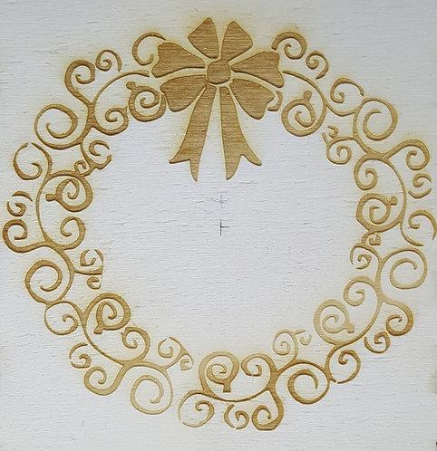 Christmas wreath engraved wine box