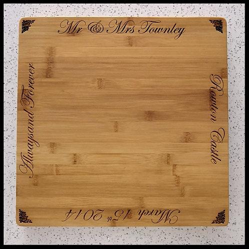 Large personalised bamboo butchers block chopping board