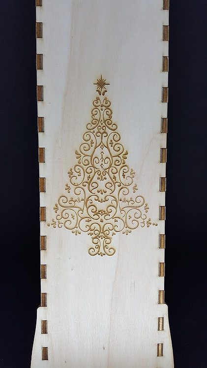 Christmas tree engraved wine box