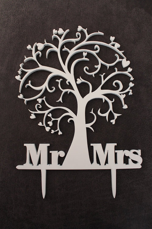Perspex laser cut Mr and Mrs tree cake topper
