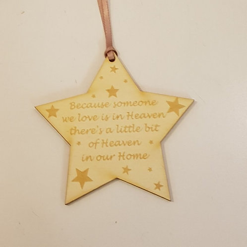 Memory star hanging decoration