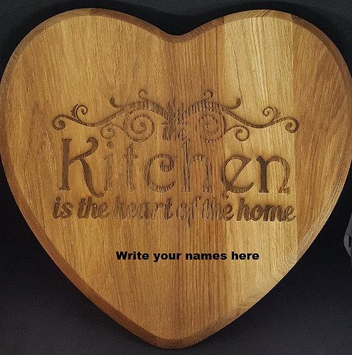 Heart shaped Oak chopping board