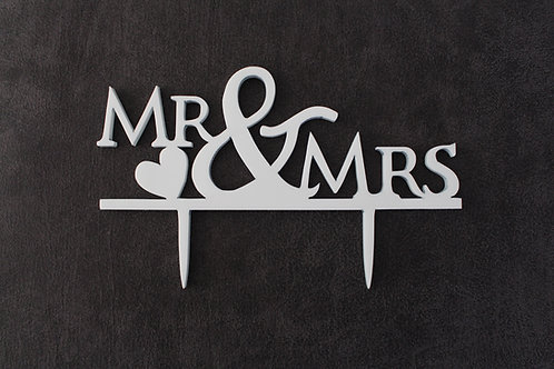 Perpex laser cut mr and mrs with heart cake topper