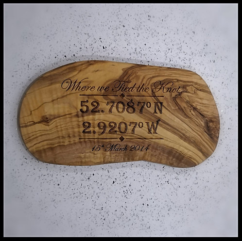 Personalised Olive wood chopping board GPS engraving
