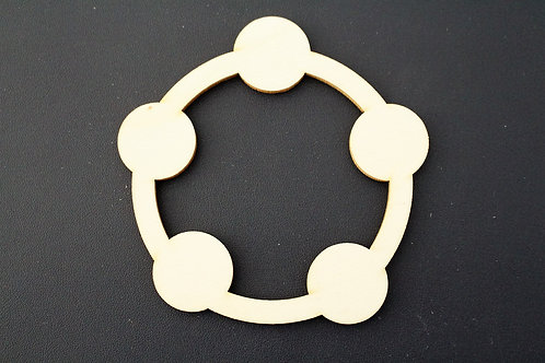 Laser cut ply 100mm baby rattle