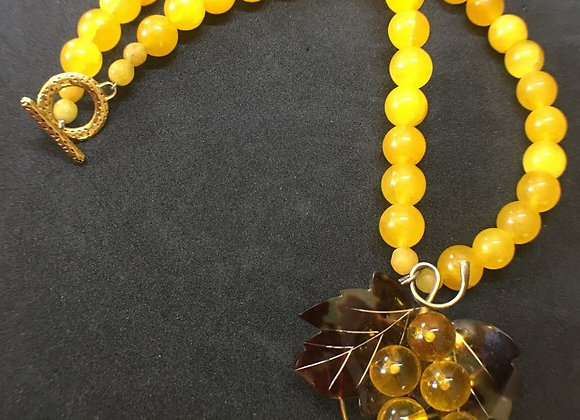 Yellow Agate Necklace with Vintage Grape Pendant