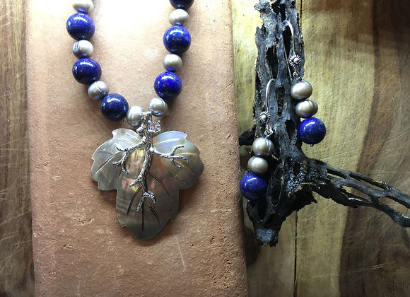 Lapis and Black Pearl Necklace with Sea Shell Pendant