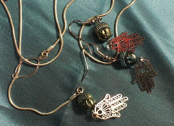 Lariat Style Buddha and Hamsa Necklace and Earring Set