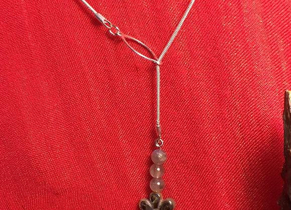 Lariat Style Labradorite and Seashell Pendant
