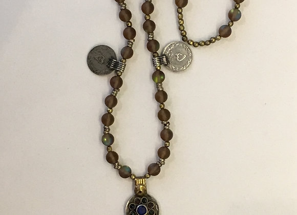 Mala Style Necklace with Vintage Handmade Coin Pendants