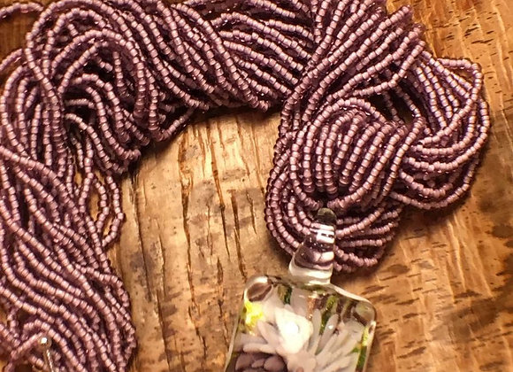 African Glass Bead Necklace with Glass Flower Pendant