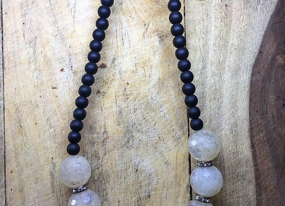 Vintage White Topaz and Onyx Necklace