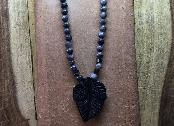 Black Jasper Cosmo and Magnet Necklace with Marble Pendant