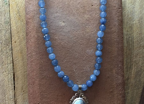 Blue agate with Oriental Vintage Black Pearl and Sterling Silver Pendant