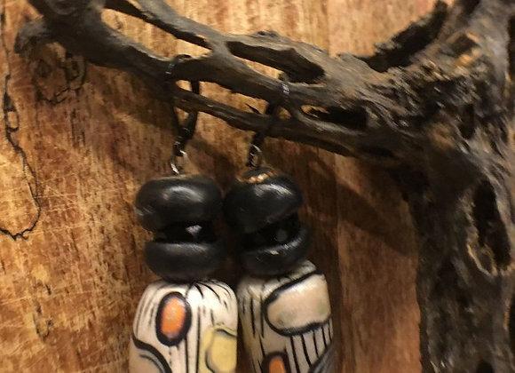 Vintage Handmade Hand Painted Earrings