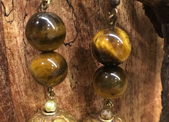 Tiger Eye Earrings with Tibetan Sphere Drops