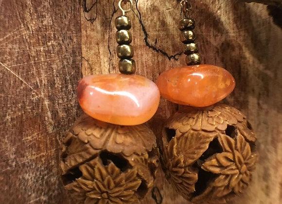 Agate Earrings with Drop Carved Spheres