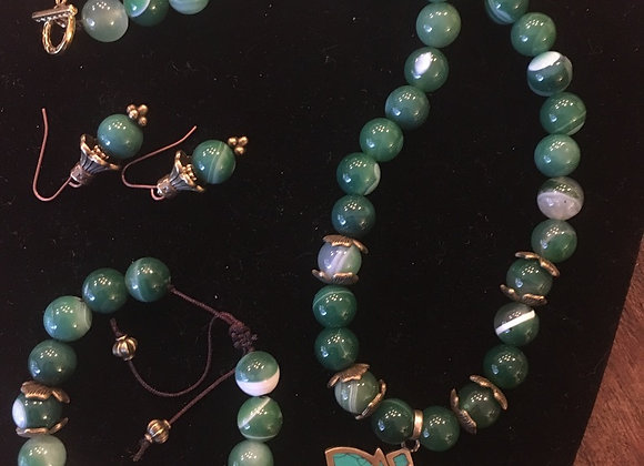 Agate Necklace, Bracelet, and Earrings - Custom Designed for Client