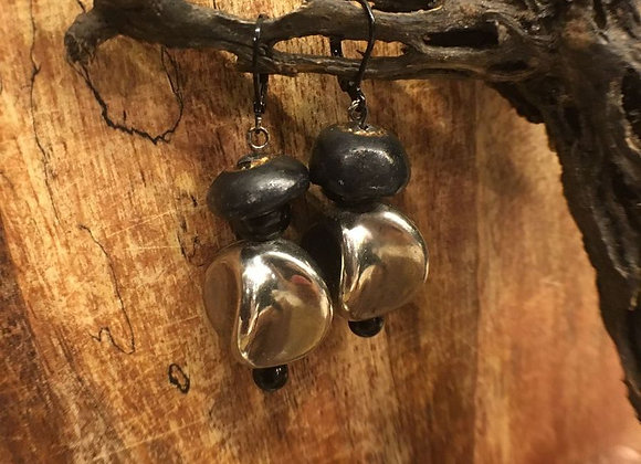 Vintage Black and Silver Earrings