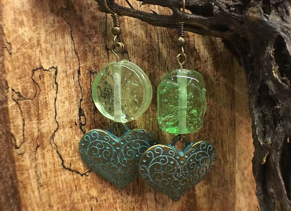 Dangling Earrings with Glass Beads and Patina Hearts